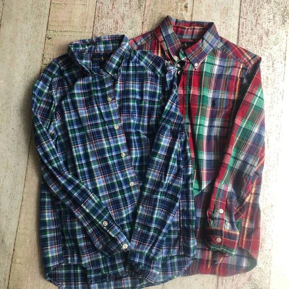 e711bdcb Boys 10/12 set plaid button up long sleeve shirts